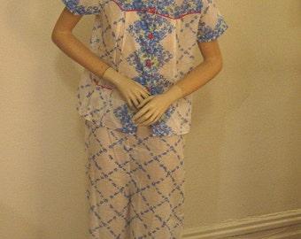 Vintage 40s Cotton Batiste Print Summer Pajamas