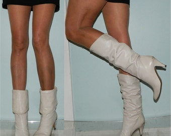 designer CHANTEL boots size 7 Italian winter white 70s 80s boots