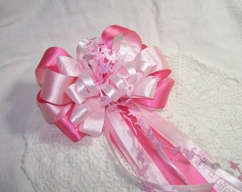 """Baby Girl Gift Bow """"It's a Girl"""" Handmade Satin Ribbon Decoration Shower Party Wreath Pretty Pink Pew"""