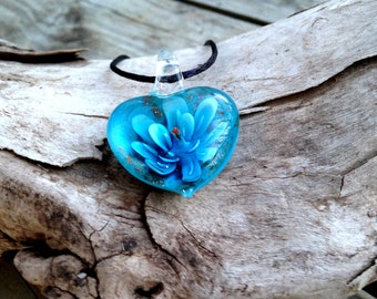 Blue Dimensional Glass Heart Pendant or Charm with Flower