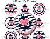 """Pink & Navy S.S. Cutie Pie Bottle Cap 1"""" Circles - Digi Images Nautical Anchor Heart Gem - No.199"""