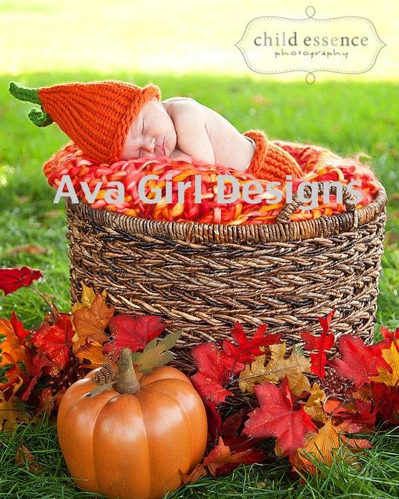 Newborn baby pumpkin hat and diaper cover set boy girl photo prop