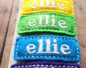 Special Rainbow Set of Six for Twenty Personalized Embroidered Name Felt Clip Clippies SIX of the SAME name Rainbow Colors