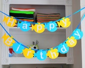 FishBanner, Happy Birthday Banner, Fish shape Banner  A704