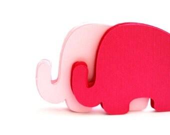 24 Elephant Die Cut, Baby Elephant die cut (3.5 x 2.5 inches) Pink or CHOOSE 2 COLORS Textured Cardstock  die cut  A192