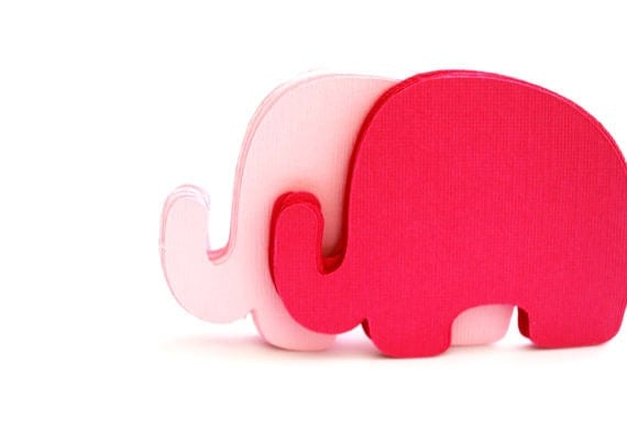 24 Elephant Die Cut, Baby Elephant die cut (3.5 x 2.5 inches) Pink or CHOOSE 2 COLORS Textured Cardstock die cut A192