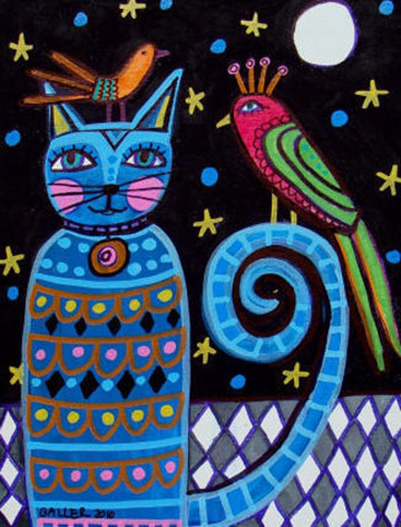 Blue Cat Art Poster Print of Painting  Heather Galler