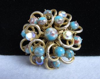 Vintage Pendant/ Pin aurora borealis Brooch/ Goldtone