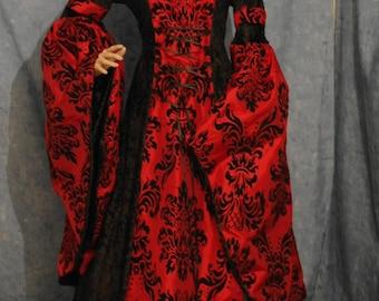 medieval dress, renaissance dress, VAMPIRE dress, HALLOWEEN wedding gown, elven, handfasting dress, custom made