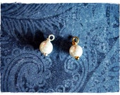 6mm White Pearl Charm - Add On Wire Wrapped White Glass Pearl - White Pearl Accent Charm