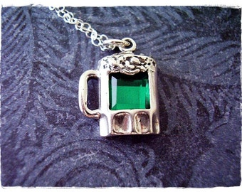 Green Beer Necklace - Sterling Silver Green Beer Charm on a Delicate Sterling Silver Cable Chain or Charm Only