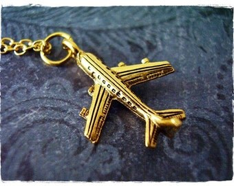 Gold Airplane Necklace - Antique Gold Pewter Airplane Charm on a Delicate Gold Plated Cable Chain or Charm Only
