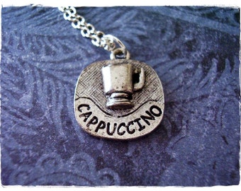 Silver Cappuccino Necklace - Antique Pewter Cappuccino Charm on a Delicate Silver Plated Cable Chain or Charm Only