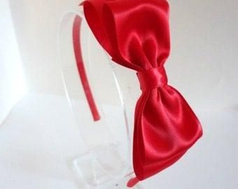Red Satin Bow Headband, Hair Accessories, Girls Hair Accessories, Teen Headband, Adult Headband, Christmas Headband, Red Bow Headband