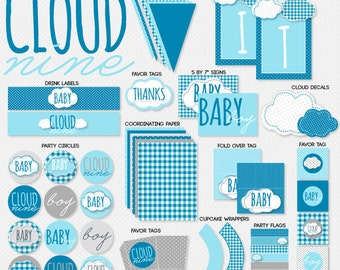 Cloud Nine Boy Baby Shower PRINTABLE Full Collection by Love The Day