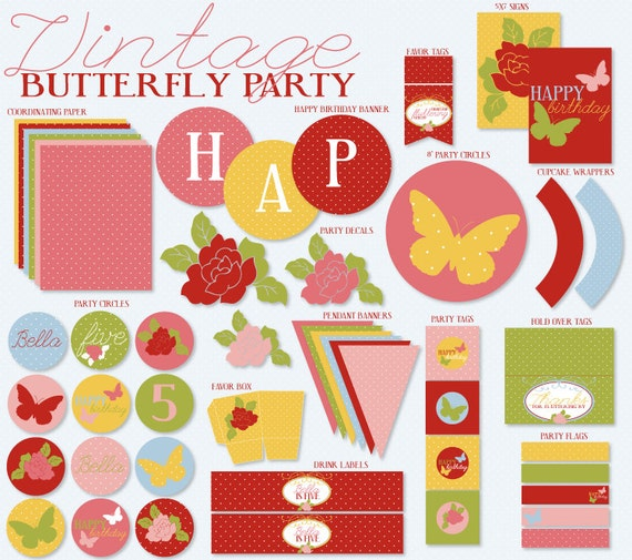 Butterfly Tea Party PRINTABLE DIY Custom Birthday from Love The Day