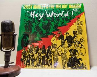 "ON SALE Ziggy Marley Vinyl Record Album 1980s Reggae World Political Religion LP, ""Hey World""(1986 Emi Records)"