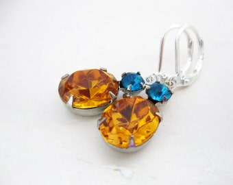 Honey and Teal Earrings, Topaz and Aqua Zircon Blue, Swarovski Crystals in Silver