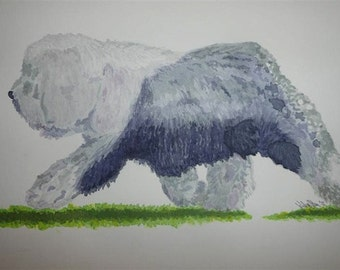 Old English Sheepdog Original Painting - 'Reach and Drive'