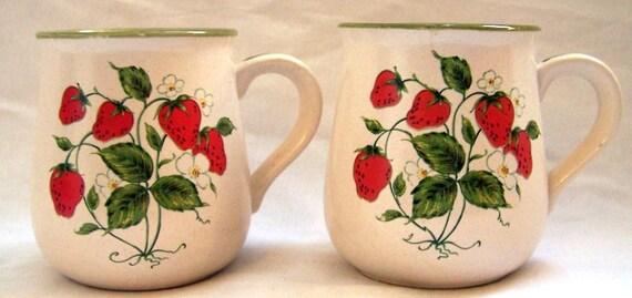 Vintage Stoneware Wild Strawberry Mugs Coffee Tea for Two Fruit Decor
