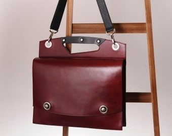 Red Leather briefcase, leather attache, laptop bag