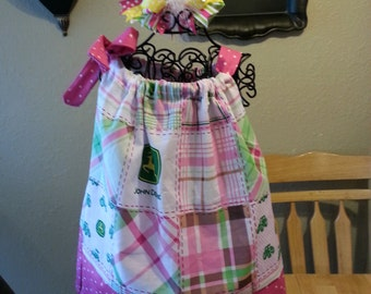 PINK John Deere Pillowcase Dress with boutique hair bow