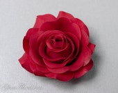 Red Rose Hair Clip. Real Touch Flowers. bride, prom, bridesmaids, Hair Fascinator, Hair Head Piece, Real Touch Flowers. Tea Rose Collection