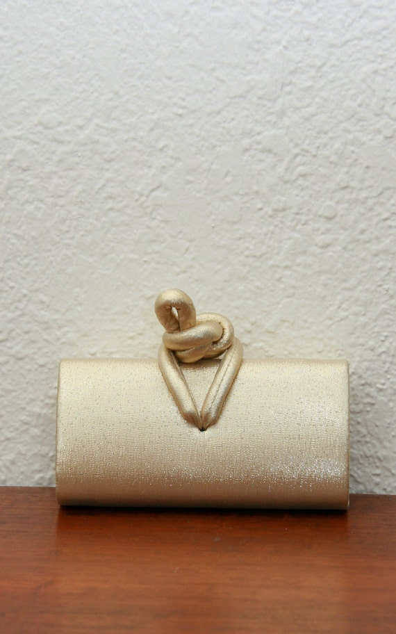 Vintage 80s 90s Metallic Gold Mini Clutch