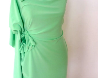 Mint green dress with bright green accent on waist/ handmade by Cheryldine