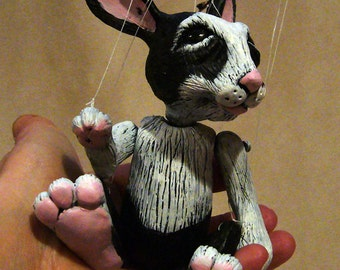 black and white rabbit marionette, hand-made, OOAK
