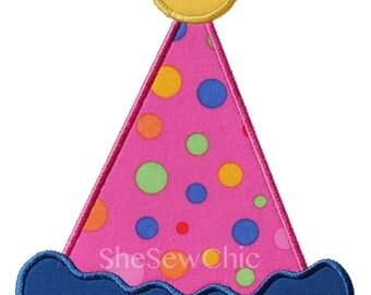 Birthday Hat - Machine Applique Embroidery Design - 3 Sizes (002)