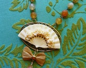 SALE Was 62 Now 56 // Autumn Carved Ivory Fan Pendant with Faceted Carnelian Semi Precious Stones // 1950s Retro Chic Deco Nature Gemstone