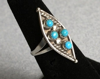Turquoise and Silver Ring, Size 6-1/2, Vintage Southwestern
