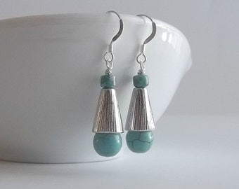 Silver and Turquoise Earrings Drop Earrings Blue Earrings Boucles d'Oreilles Pendants Argent et Turquoise Gift Idea for Mom