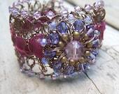 Purple Bracelet - Purple Cuff  - Purple Wire Crochet Bracelet - Wire Crochet Cuff - Swarovski Crystal Cuff Bracelet - Purple Ribbon Bracelet