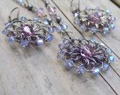 Light Purple Jewelry Set - Swarovski Crystal Jewelry Set - Wire Crochet Jewelry - Lavender Purple Bridesmaid Gift - Rustic Wedding - Fairy