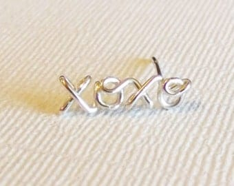 xoxo cartilage Earring, Sterling Silver or Gold Filled - Single or Pair Available
