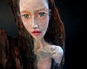 Tree Nymph Sculpture. Clay & Wood Carving Art Doll) by Fae Factory Visionary Artist Dr Franky Dolan (Fantasy Art Sculpture Art Doll Fairy)