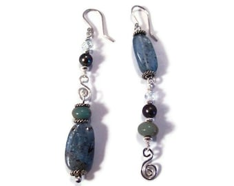 Asymmetrical Earrings Mismatched Ear rings, Sterling Silver Wire Wrapped Jewelry, Long Dangle Earrings, Natural Blue Stone