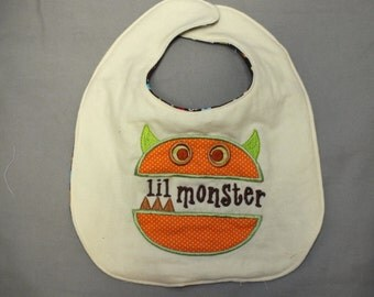 Monster baby bib - baby boy monster bib -  little monster bib - baby boy bib