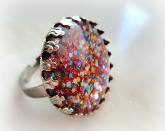 Rainbow glitter ring, statement ring, gift for her