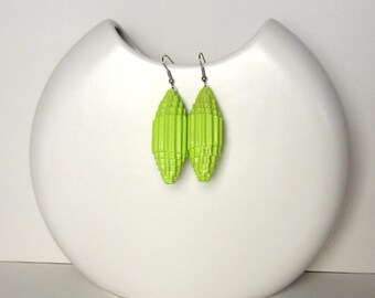 lime green: Statement Earrings - paper beads