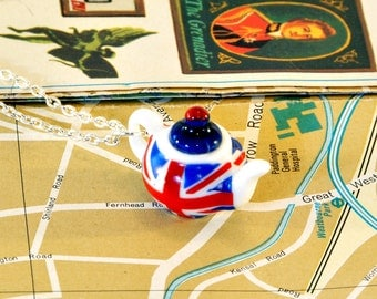 Union Jack Teapot Necklace - Teapot Jewellery - London Gifts