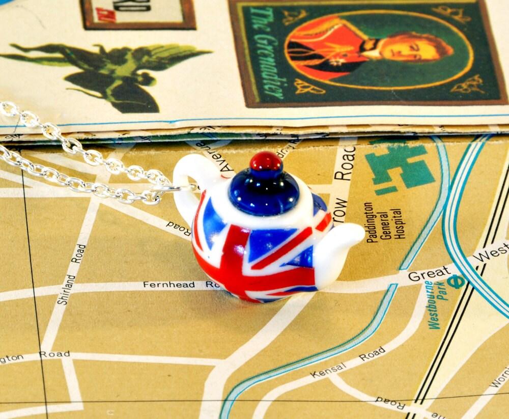 Union Jack Teapot Necklace - Teapot Jewellery - London Gifts