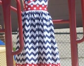 Navy Chevron Halter with Red Polka Dots, Size 2, 3, 4, 5, 6, 7, and 8