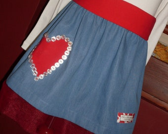 Buy Any 2 Skirts and Get 1 FREE, Denim Skirt with Applique Heart, Size 2, 3, 4, 5, 6, 7, 8, 9, 10, and 12