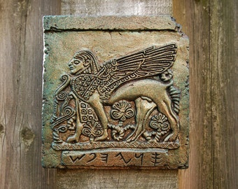 Sphinx Ancient Stone Art Sculpture, Phoenician Ivory Winged Sphinx, Antique Home Decor Garden Art Antiquity