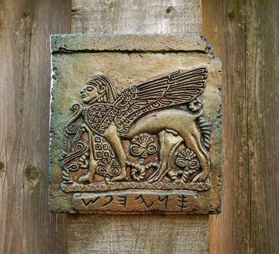 Sphinx Stone Art Sculpture, Ancient Phoenician Ivory Winged Sphinx, Antique Home Decor Garden Art