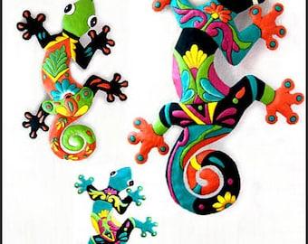 3 Geckos Metal Art, Wall Art, Painted Tropical Metal Wall Hangings - Recycled Steel Drum, Garden Art - Tropical Home Decor - M-Gecko-Combo-1