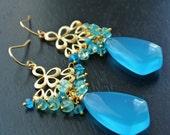 Blue Gemstone Earrings, Aquamarine, Aqua Chalcedony Earrings, Gold Chandelier, Peridot
